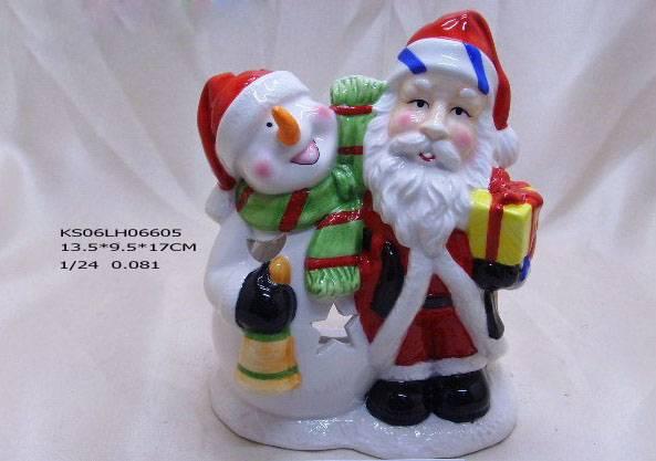 Ceramic Santa Claus & snowman candleholder