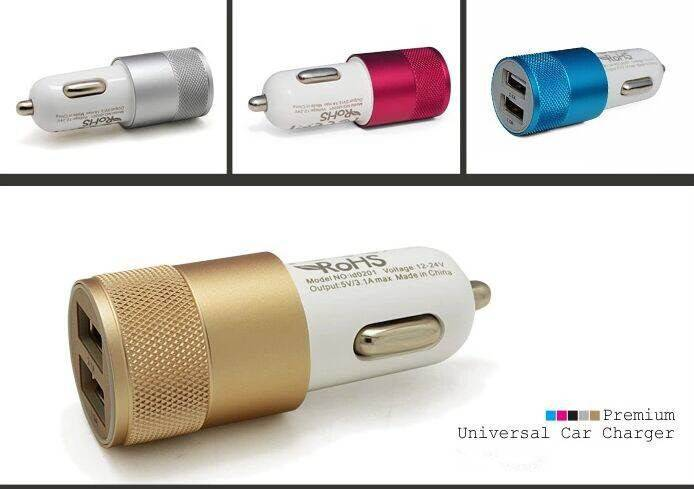 Universal Dual USB Colorful Car Charger 5V/3.1A