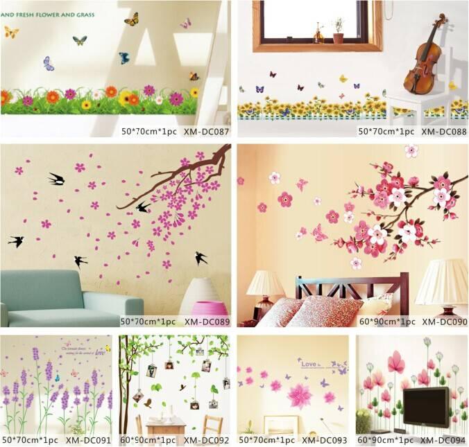 Beautiful Flower Printed Home Decorative Wall Sticker