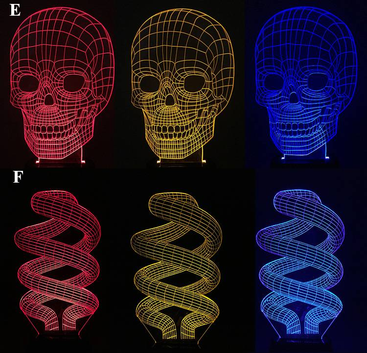 2016 New arrival 3d led night lamp 3D night light skull