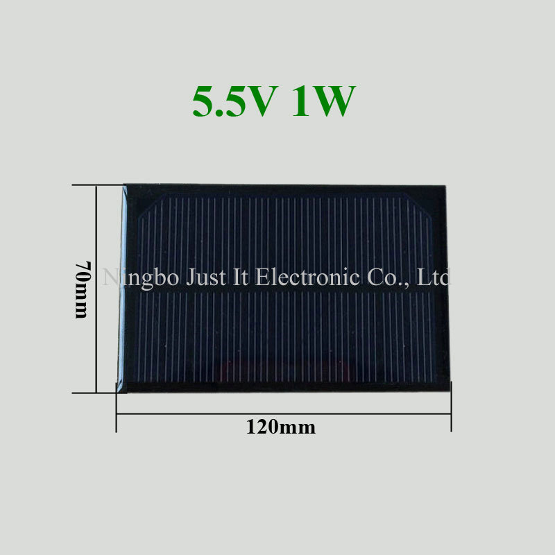 5.5V 180mA 1W 120x70mm Small Epoxy Solar Panel
