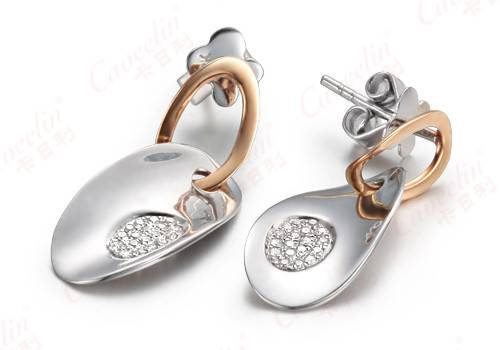 sterling silver and gold diamond earrings,diamond jewelry