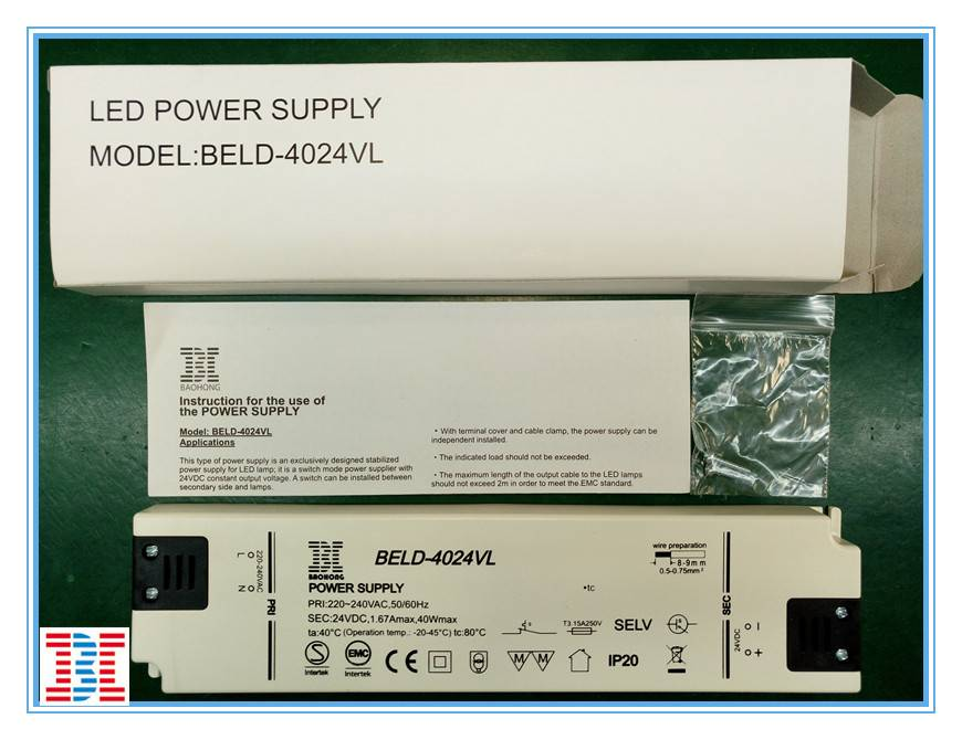 IP20 40W24V CV Version Super Thin LED Power Supply / LED Driver