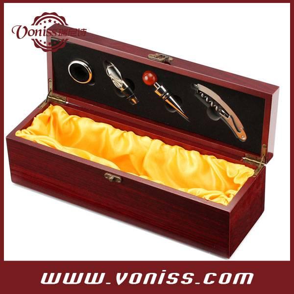 Red wine color wine wooden box carrier, wine bottle holder for 750ML single bottlle, Luxury liner,Wi