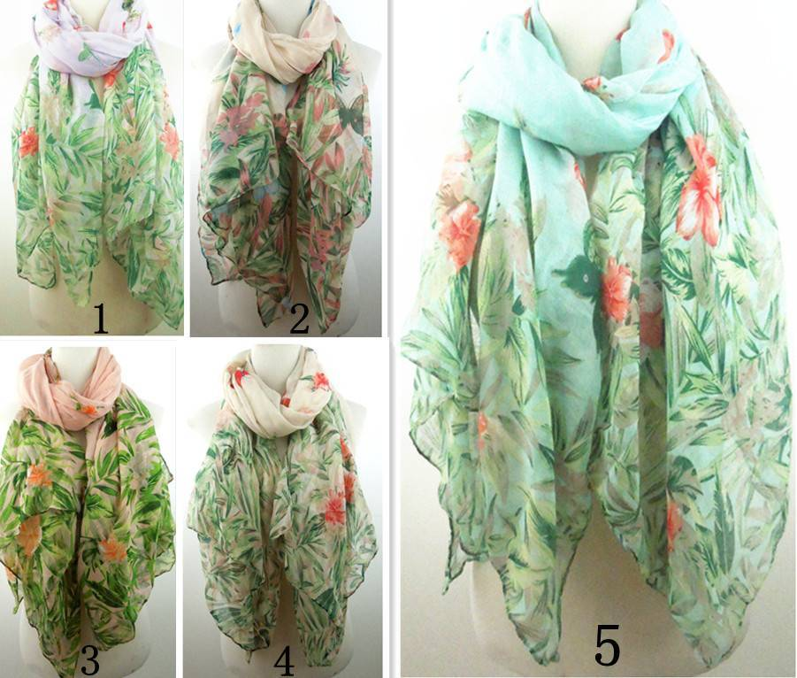 SellWomen's spring butterfly and flowers print scarves PG904