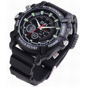 1080P IR Night Vision Waterproof hidden Watch with Rubber Bracelet (8GB)