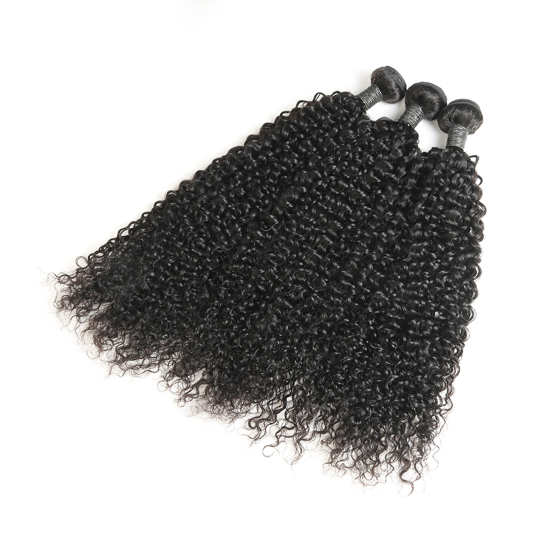9A Indian Jerry Curly Human Virgin Hair Weave 4 Bundles With Lace Closure