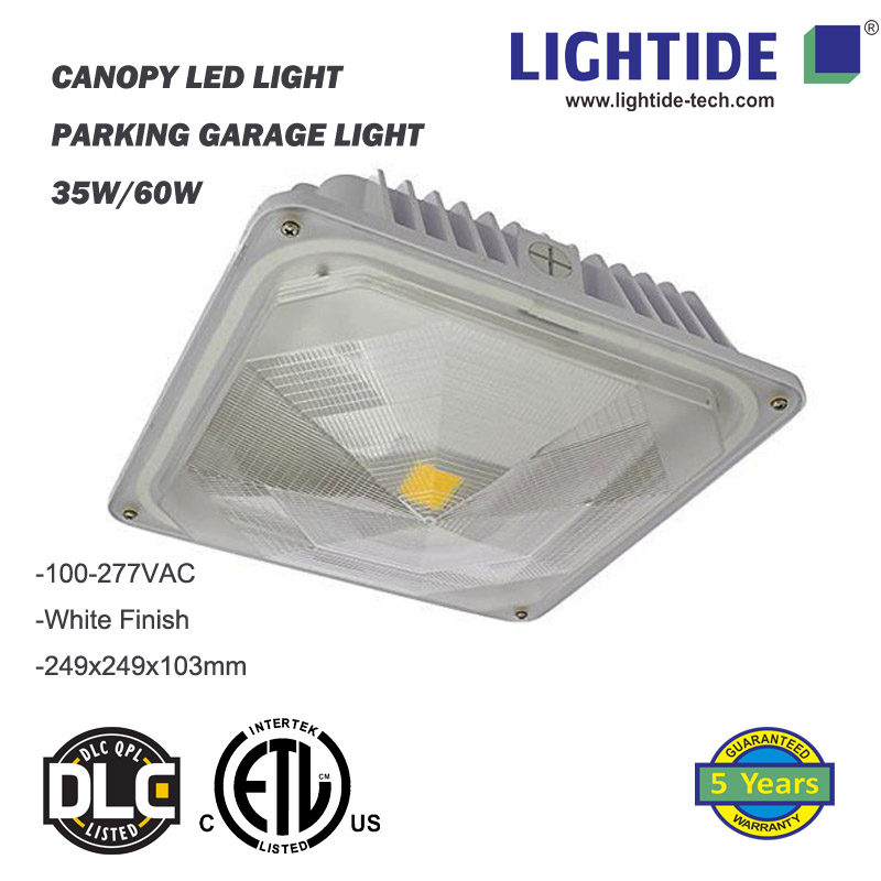 LED Canopy Lights, 100-277V AC, 60W, DLC 4.2