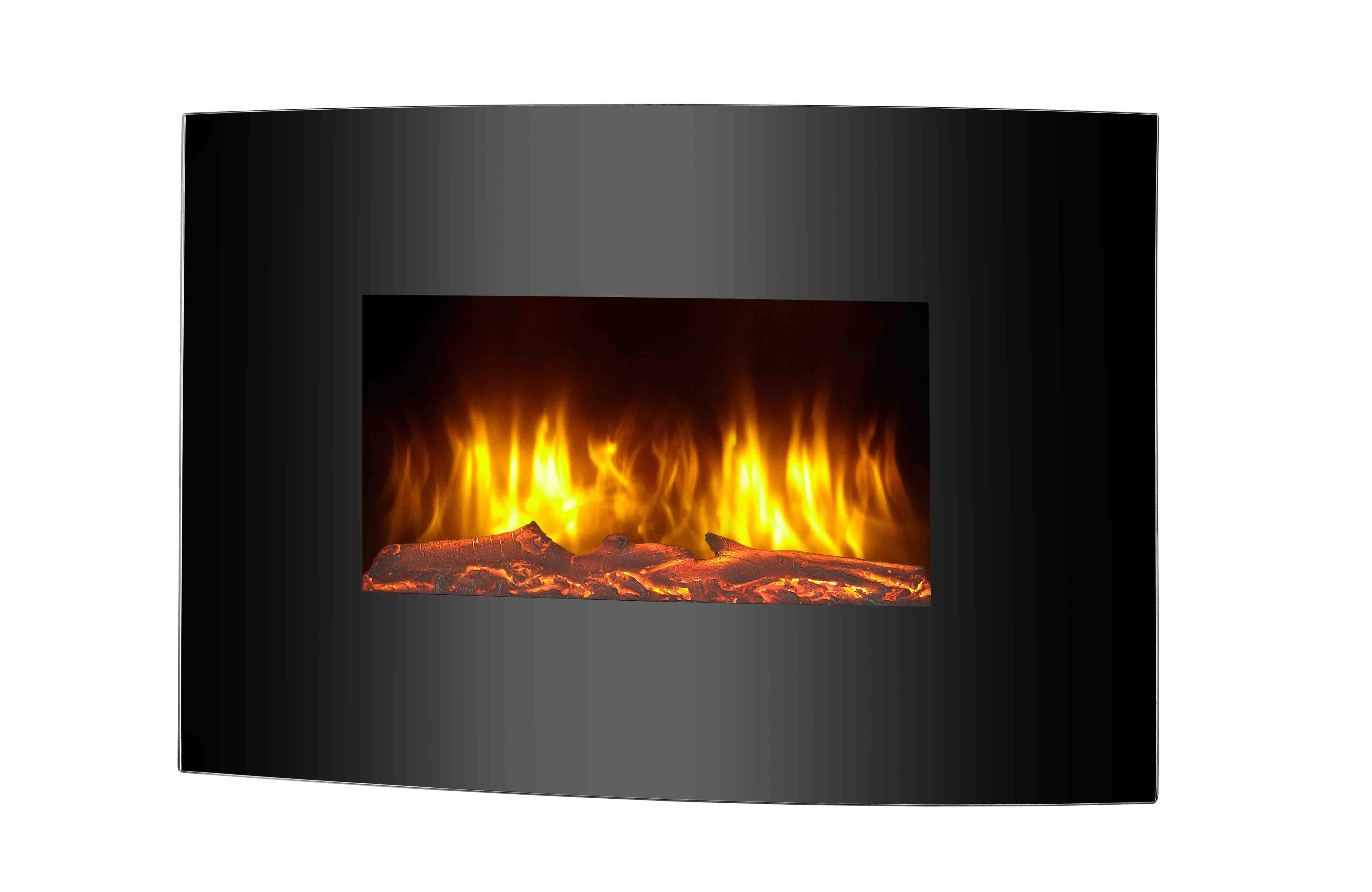 LED Curved Glass Electric Wall Mounted Fireplace Remote Control LJF2302E-1