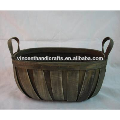 Antique distressed wooden collection basket with two handles