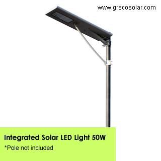 Integrated Solar Street Lights 50 Watt, Solar Street Lights with Light Sensors