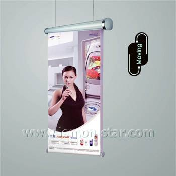Electric roll up screen moving display