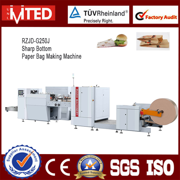 RZJD-250 Fully Automatic Sharp Bottom Paper Bag Making Machine, KFC Kraft Paper Bag Making Machine
