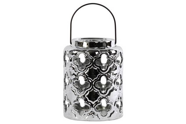 Ceramic Round Lantern with Quatrefoil Cutouts and Black Metal Handle