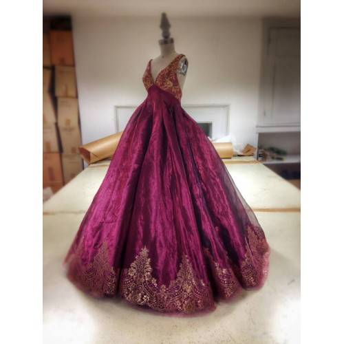 BALL GOWN SATIN&TULLE V-NECK EMBELLISHMENT WITH LACE FLOOR LENGTH WEDDING DRESS FOR HE IS A PIRATE H