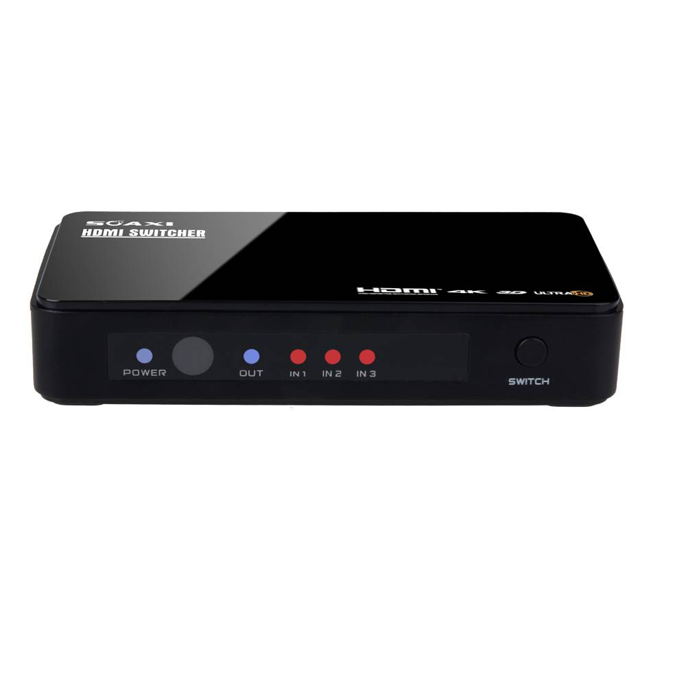 Premium 3 Port Ultra HD Switcher with IR Wireless Remote and Ac Power Adapter - Supports 3D, 4Kx2K
