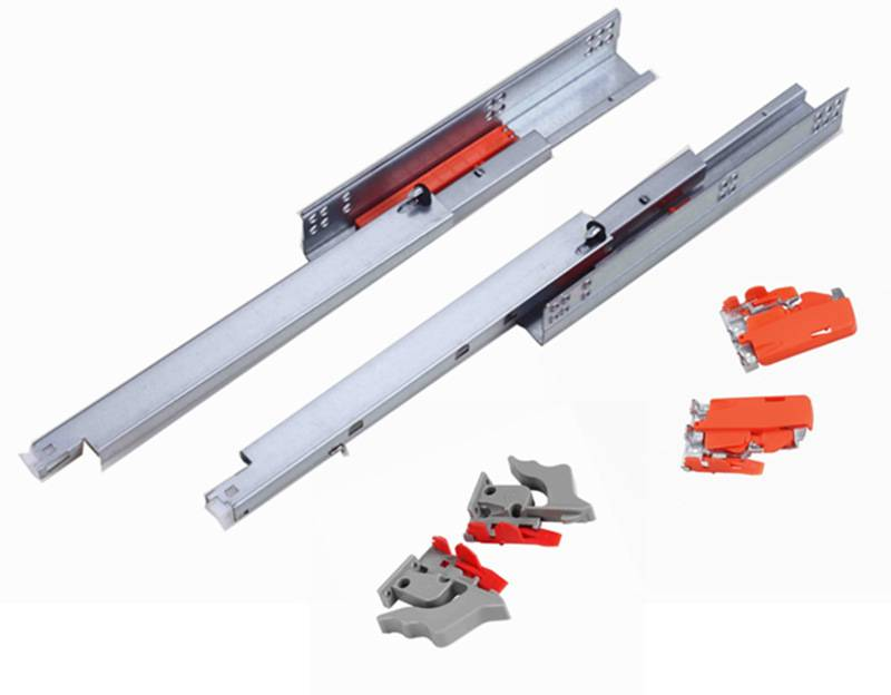 full extension concealed push open drawer slide with clips