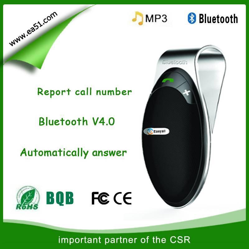 Sun visor bluetooth handsfree car kit stereo music plaly CE/FCC certification HF-810