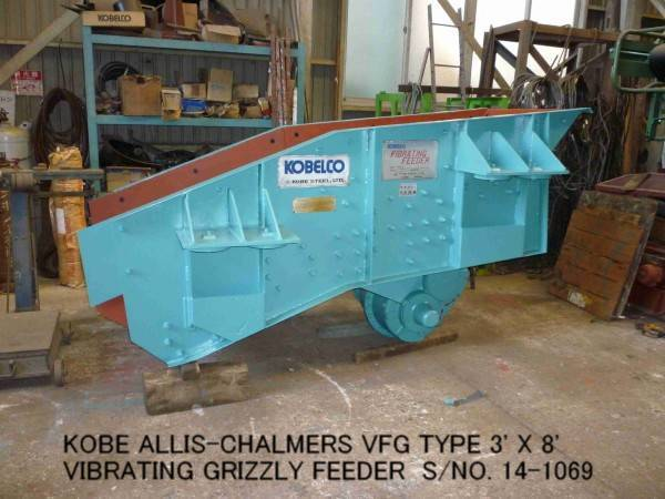 USED KOBE ALLIS-CHALMERS VFG TYPE 3' X 8' VIBRATING GRIZZLY FEEDER S/NO. 14-1069 WITH MOTOR