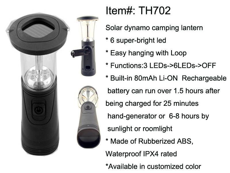 Rechargeable Solar Dynamo Camping Light TH702