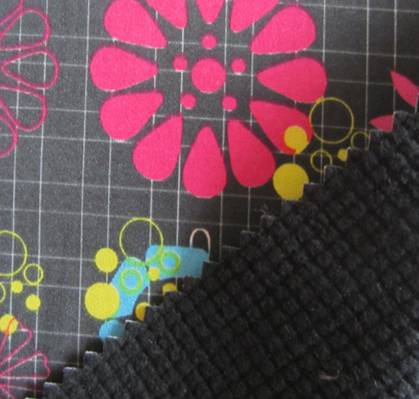 100D plain printing 4 way strectch fabric+tpu+grid textured fleece