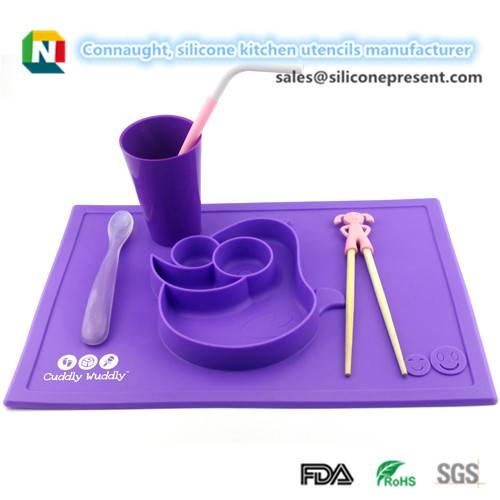 silicone baby dinner plate sets, silicone dinner tray for kids, silicone dinner plate tray