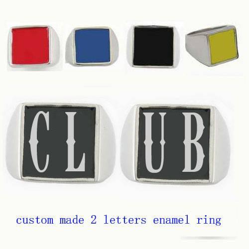 custom made 2 letter club ring