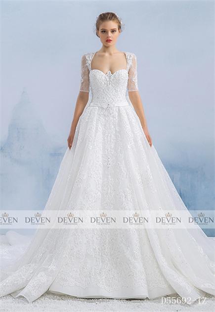 1/2 Sleeve Sweetheart Neckline Beaded Belt Applique Empire Gown