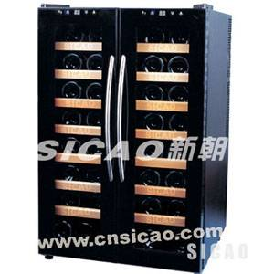 two door wine cooler,wooden rack wine refrigerator,touchplane and LCD display wine cellar