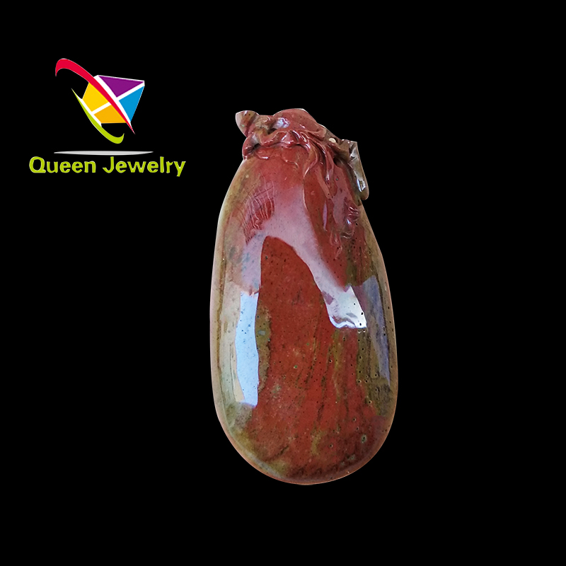 Rare natural red jade pendant limited edition Seiko carved cute animals stand high and see far