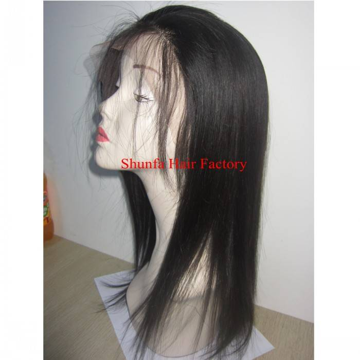 Sell 100% human hair silk straight Full lace wig