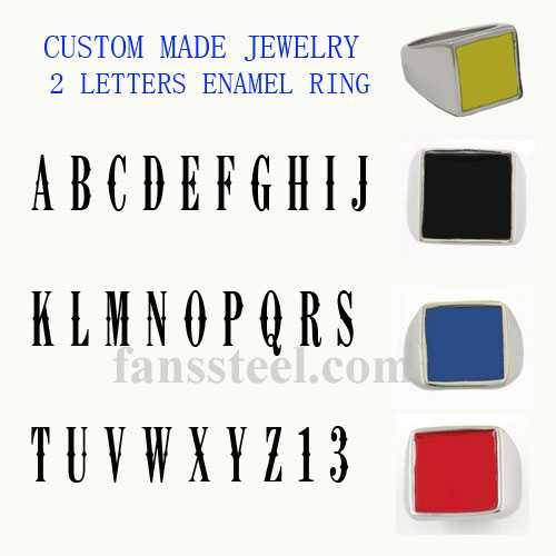 custom made 2 letters name ring