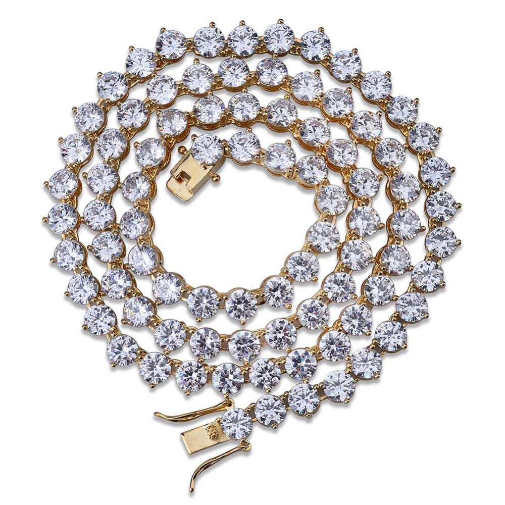Hip Hop Crystal Jewelry Iced Tennis Chain Men Chunky Necklace Iced Cubic Zircon Miami Cuban Link