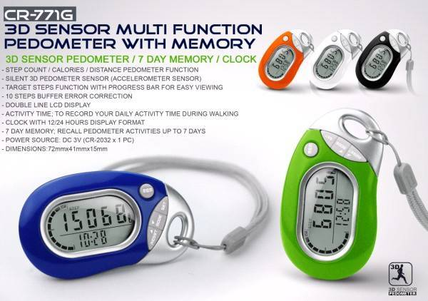 3DSensor Multi Function Pedometer with Memory