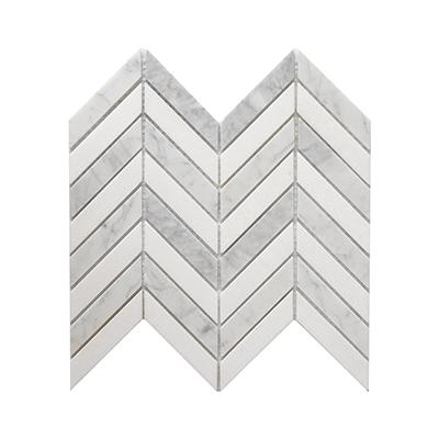 bianco carrara White and thassos marble mosaic tile