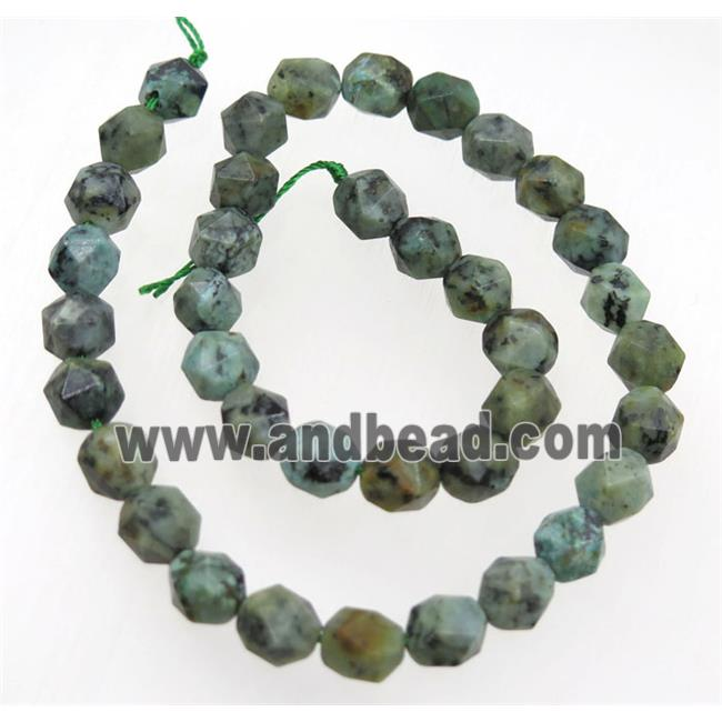 wholesale green African Turquoise ball beads, faceted round (GMLB3524-8MM) approx 8mm dia