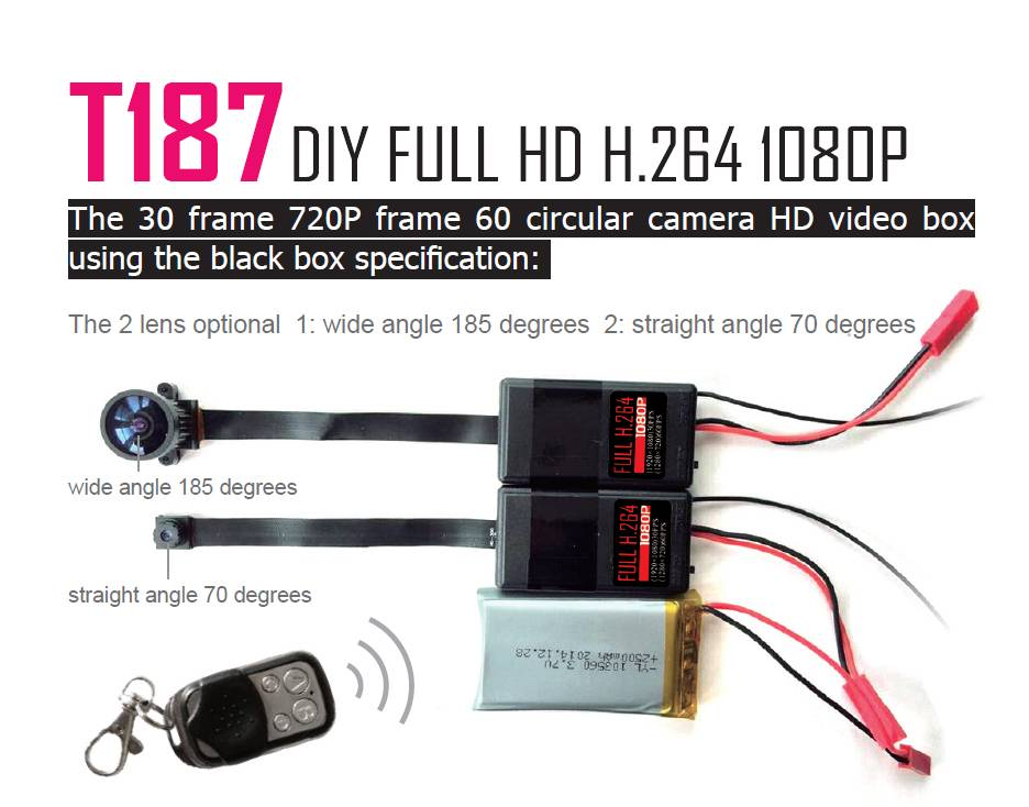 Full 1080P HD H.264 Video Box with Wide Angle 185 Degree Camera with 4 Buttons Remote Control