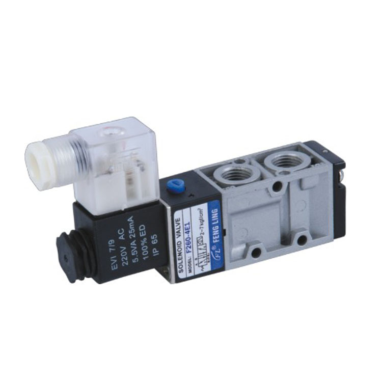 2 position 5 way single coil aluminium alloy die-casting type pneumatic solenoid valve