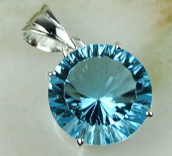 925 Sterling Silver Swiss Blue Topaz gemstone pendant