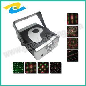 Mini 8 patterns Laser stage lighting with sound control and red & greeen