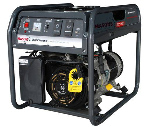 Masons 7kVA rated watts, 7.5kVA starting watts portable gasoline generators CE approved low noise