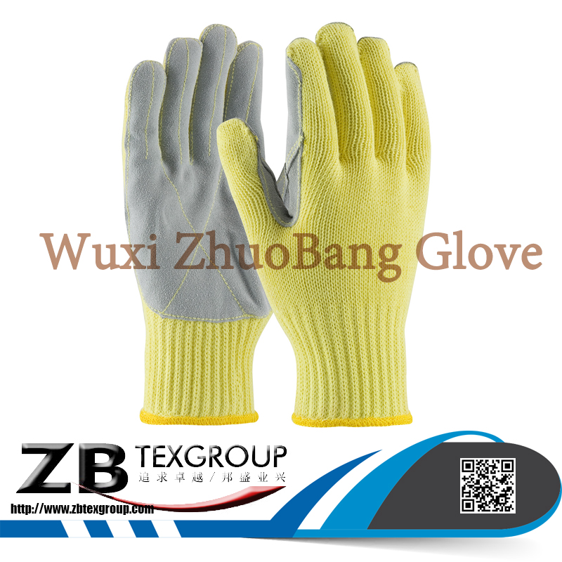 high qiality 10g level 5 cut resistant leather plam hand job work gloves