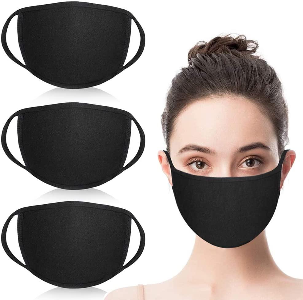 Simliber 3 Pack Unisex Fashion Mouth Mask Washable Reusable Cloth Masks Anti Dust Warm Ski Cycling S