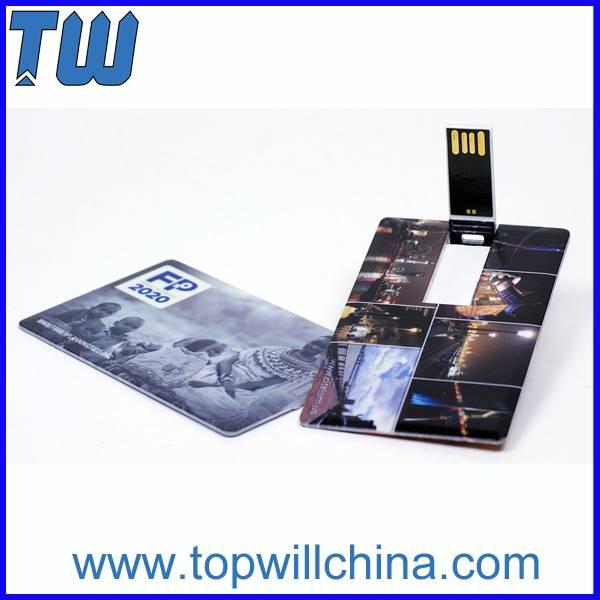 Free Full Color Printing Plastic Credit Card Swivel Pen Drive 2GB 4GB 8GB