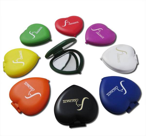 Double Side Compact Style Makeup Mirrors, Cute Design, Heart-shaped, Optional Colors