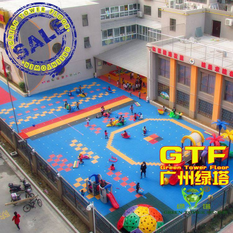 Durable PP Interlocking Sports Flooring for Kindergarten Playground
