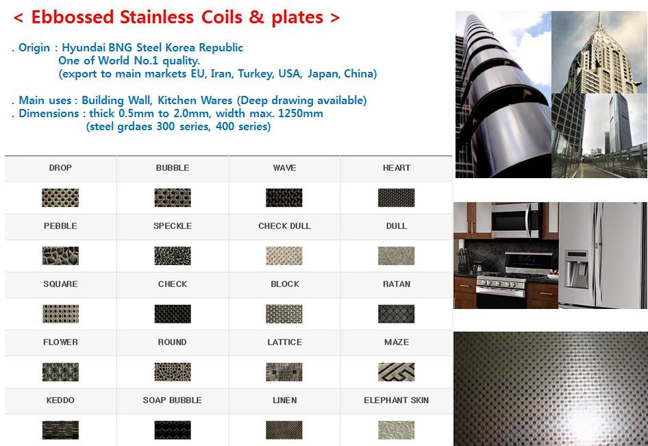 Embossed Stainless Steel Plates Coils Sheets Strips