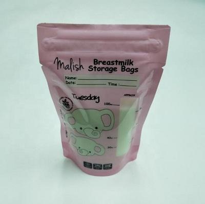 BPA free food grade aseptic wholesale breast milk storage bag with zipper and tear notch