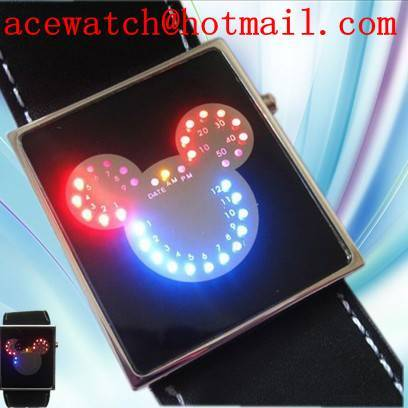 LED digital Mickey mouse watch Men Lady wrist watch