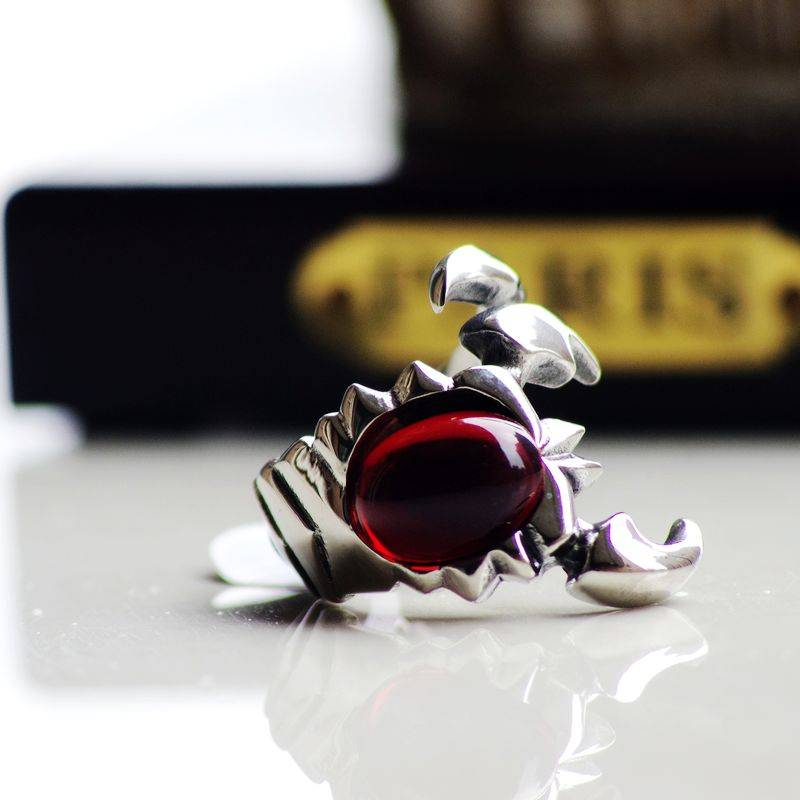Scorpion Ruby Men's Ring, Scorpion Fashon Stainless Steel Ring for Men